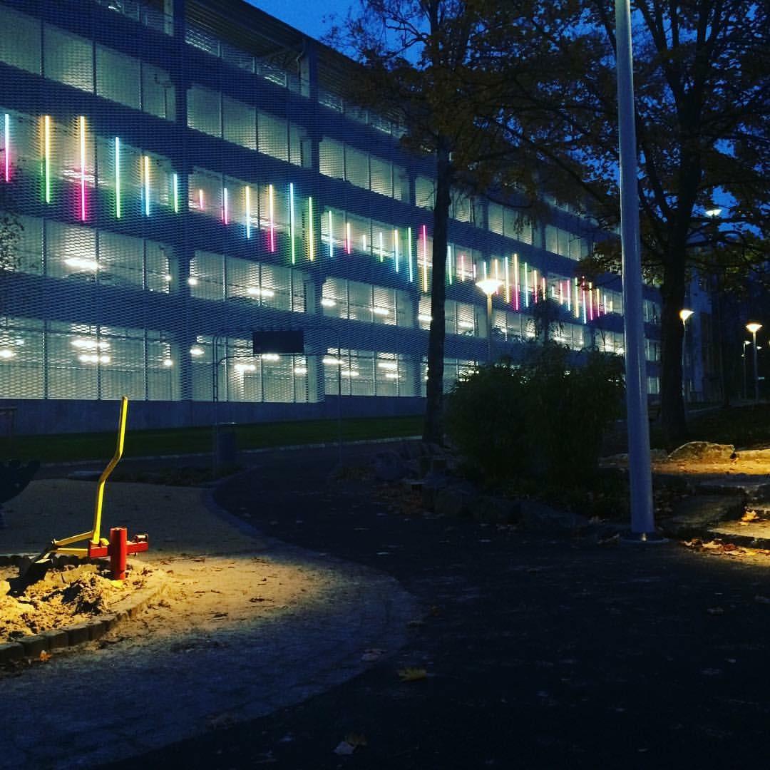 Public art work - dynamic light, Östra Hospital, Gothenburg. 2016